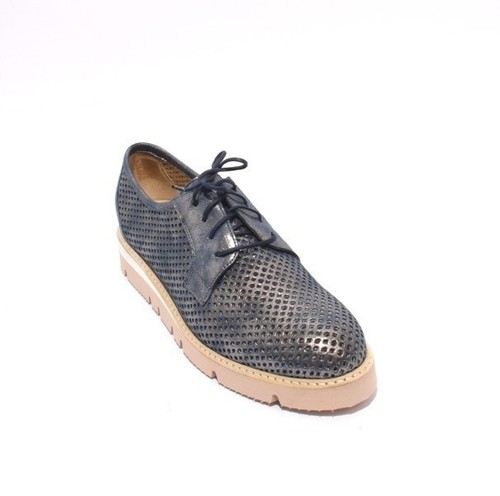 Sparkling Silver / Navy Suede Mesh LaceUp Wedge Shoes