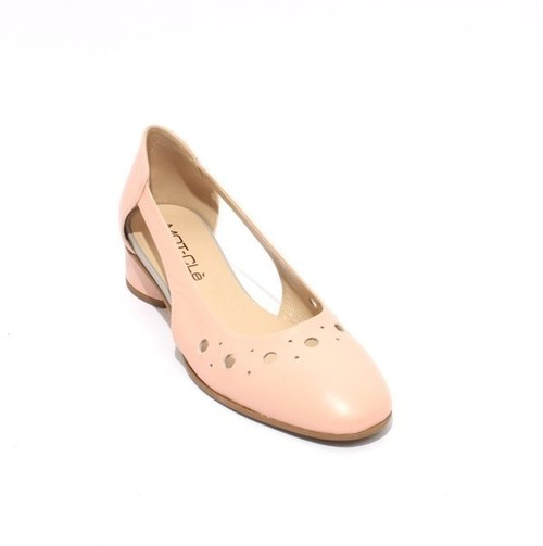 Light Pink / Gray Perforated Leather Heels Pumps