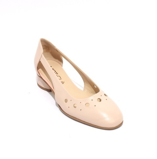 Beige / Pink Perforated Leather Heels Pumps