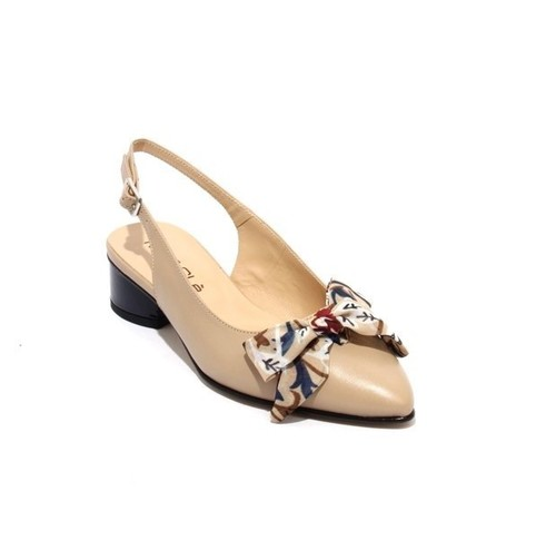 Beige / Navy Leather Pointy Slingbacks Heel Bow Sandals