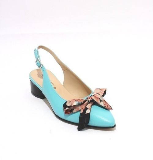 Aquamarine Leather Pointy Slingbacks Heel Bow Sandals