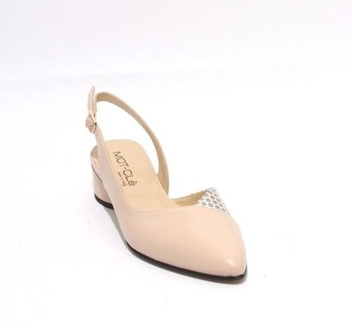 Beige / Gold Leather / Suede Pointy Slingback Heels Sandal
