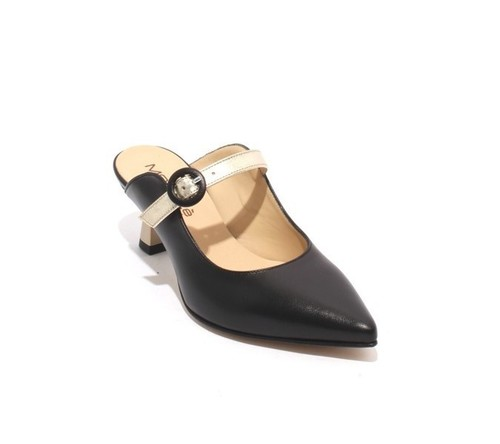 Black / Gold Leather Slide Pointy Toe Heel Sandals