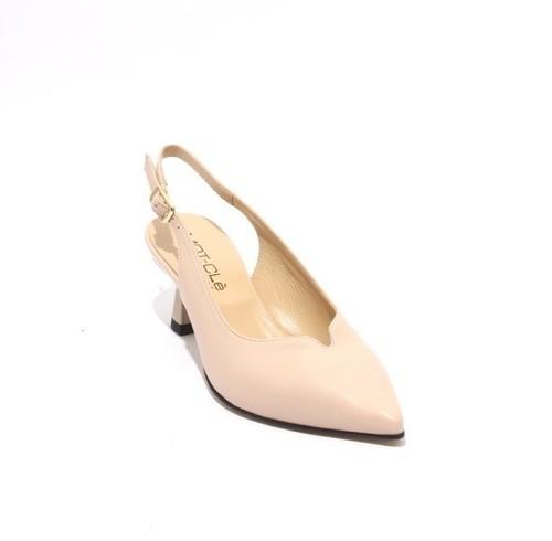 Beige / Bronze Leather Pointy Slingbacks Heel Sandals