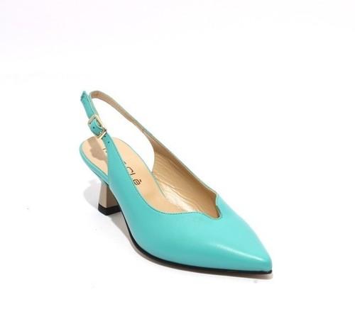 Aquamarine Leather Pointy Slingbacks Heel Sandals