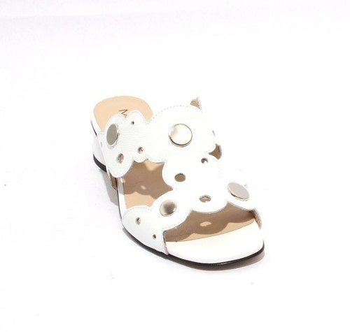 White Patent Leather Slide Open Toe Studded Sandals