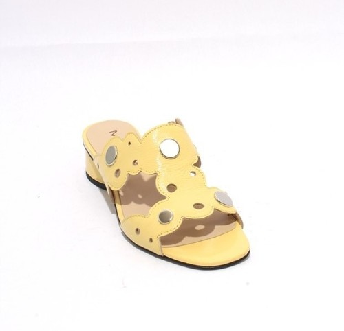 Yellow Patent Leather Slide Open Toe Studded Sandals