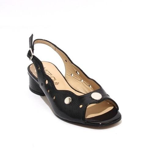 Black Patent Leather Open-Toe Slingbacks Sandals