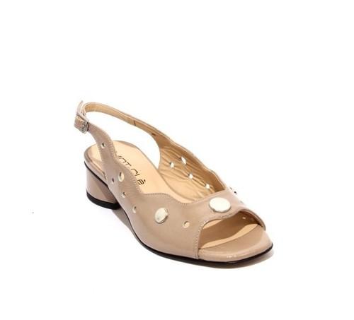 Beige Patent Leather Open-Toe Slingbacks Sandals