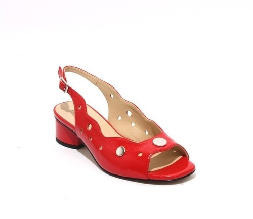Red Patent Leather Open-Toe Slingbacks Sandals
