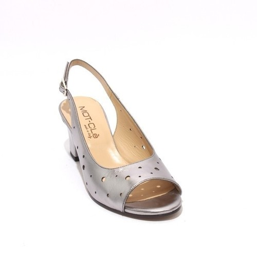 Metallic Silver Leather Chunky Heels Slingback Sandal
