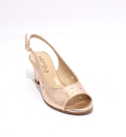Gold Leather Chunky Heels Slingbacks Sandals