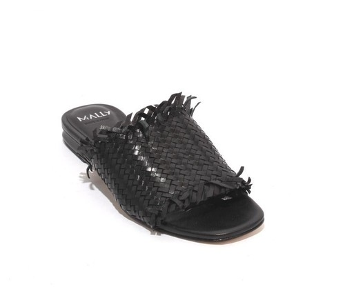 Black Woven Leather Slides Heel Sandals