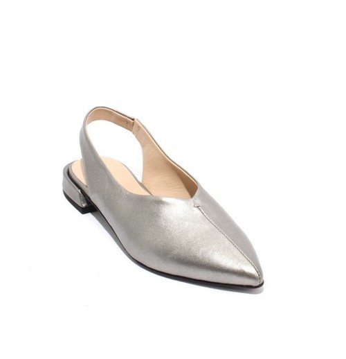 Silver Leather Pointy Toe Deep Vamp Slingback Sandals