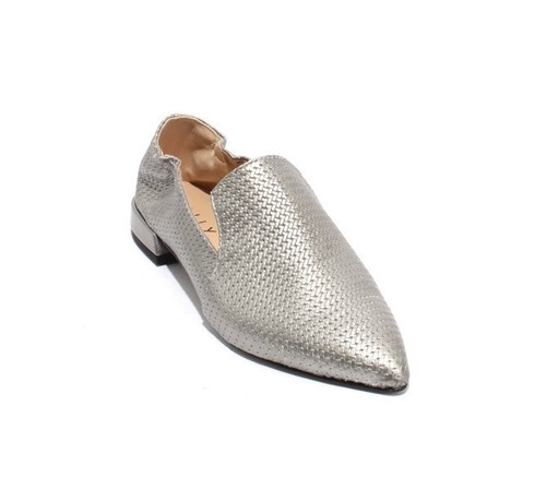 Metallic Silver Leather Pointed Toe Loafer Flats
