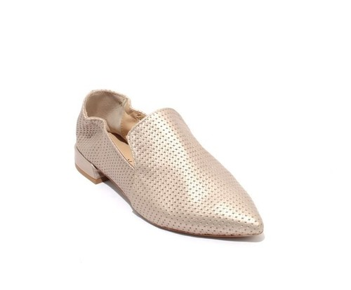 Metallic Gold Leather Pointed Toe Loafer Flats