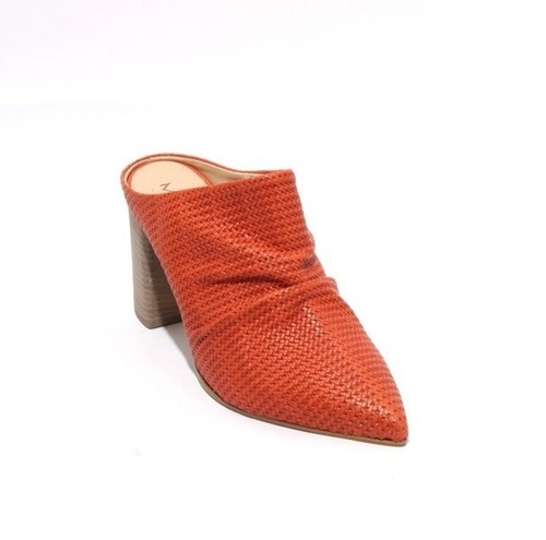 Orange Leather Slip On Pointy Toe Heel Mules