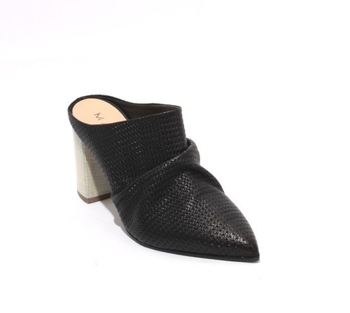 Black Leather Slip On Pointy Toe Heel Mules