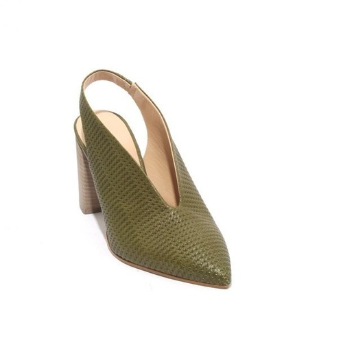 Green Leather Pointy Toe Deep Vamp Slingback Heel Sandals