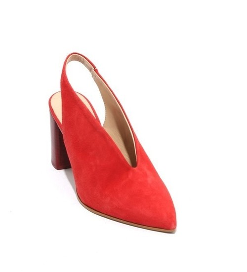 Red Suede Pointy Toe Deep Vamp Slingback Heel Sandals