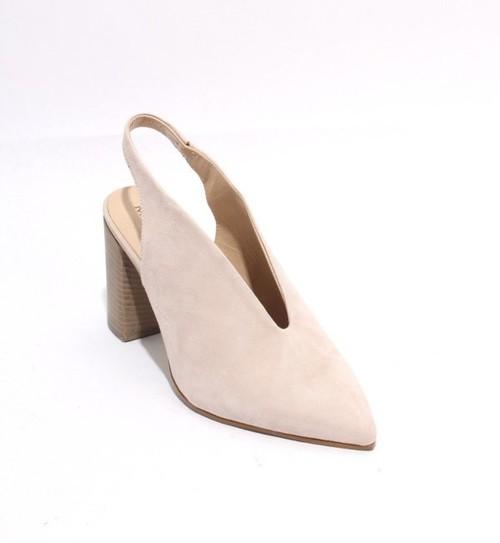 Beige Suede Pointy Toe Deep Vamp Slingback Heel Sandals