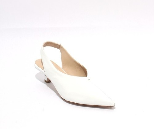 White Patent Leather Pointy Toe Deep Vamp Heel Sandals