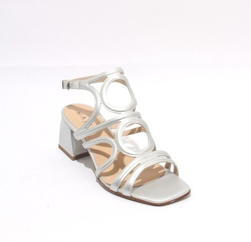 Silver Leather Buckle Ankle Strap Heel Sandals