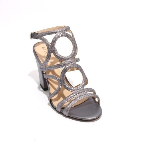 Purple Glitter Leather Buckle Ankle Strap Heel Sandals