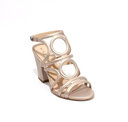 Metallic Beige Leather Buckle Ankle Strap Heel Sandals