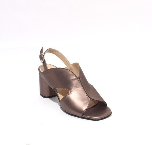 Metallic Bronze Leather Buckle Slingbacks Heel Sandals