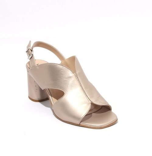 Metallic Gold Leather Buckle Slingbacks Heel Sandals