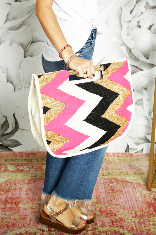 Zig Zag Shopper Bag w/ Wood Handle Neon Pink/Gold