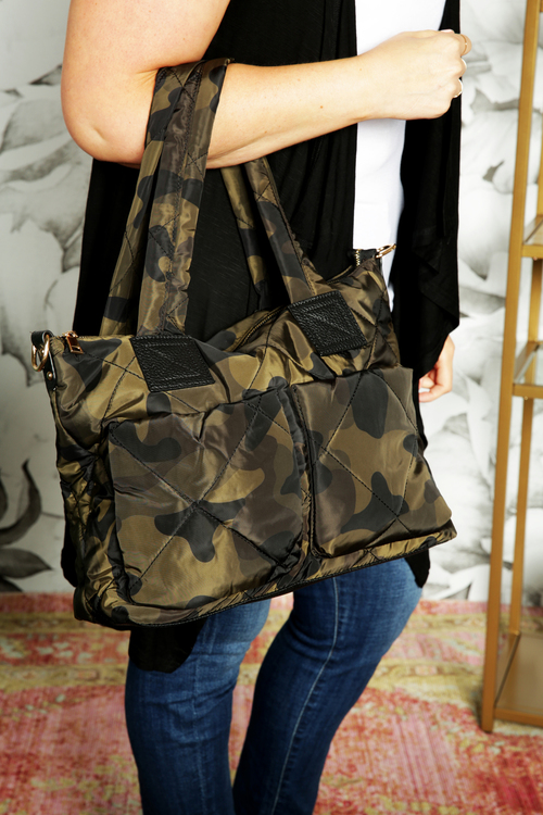 Military Camo Padded Tote Bag
