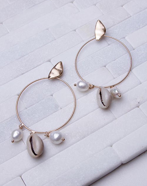 Cowry & Pearl Hoop Dangle