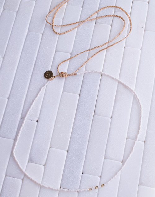 White & Gold Fleck Mermaid Necklace