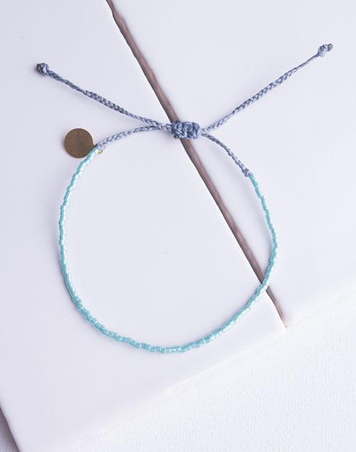 Teal Pearl & Denim Delicate Bead Bracelet