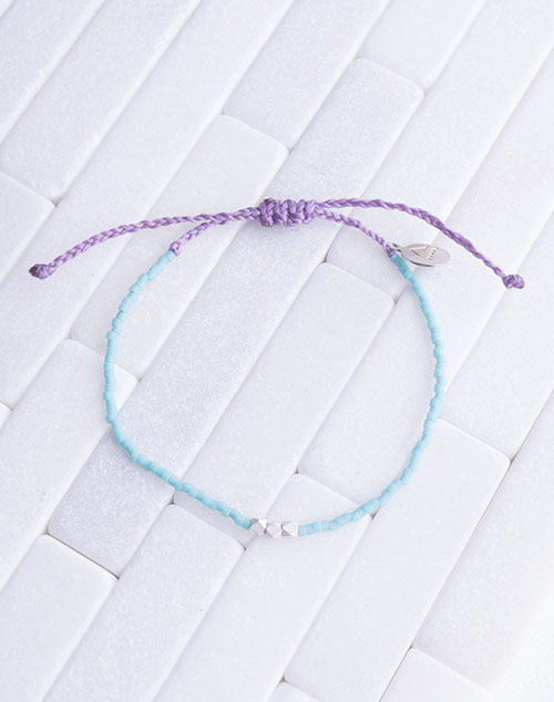 Teal & Purple Silver Bead Bracelet