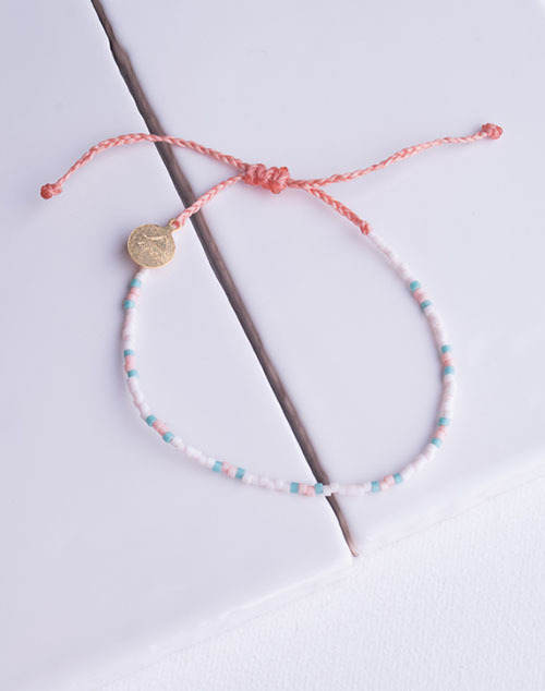 Teal & Coral Two Tone Dot Bracelet