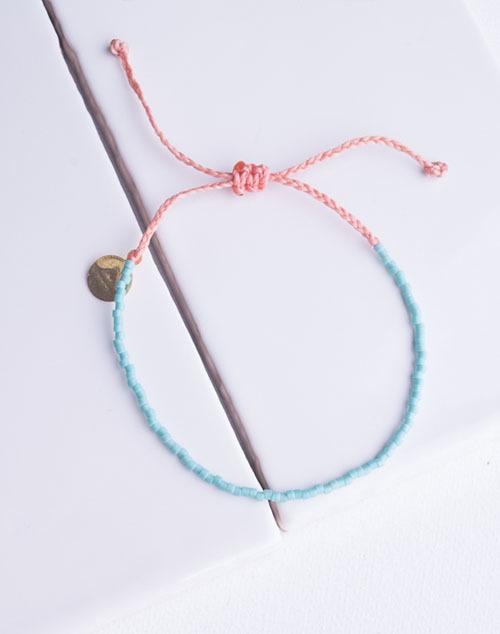 Teal & Coral Delicate Bead Bracelet