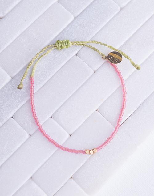 Seaglass Pink & Green Gold Bead Bracelet