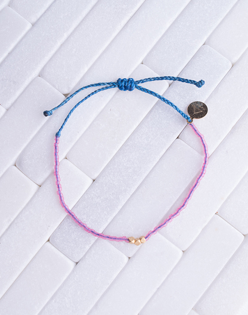 Seaglass Pink & Blue Gold Bead Bracelet
