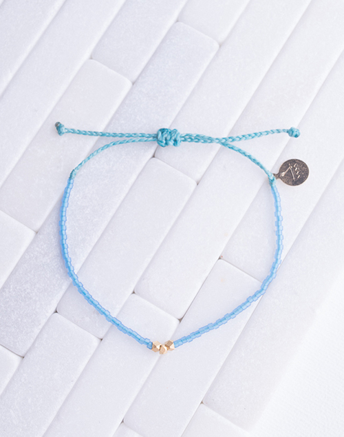 Seaglass Blue & Teal gold Bead Bracelet