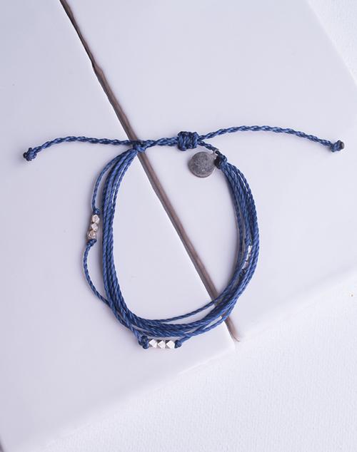 Navy Macua Silver Bracelet