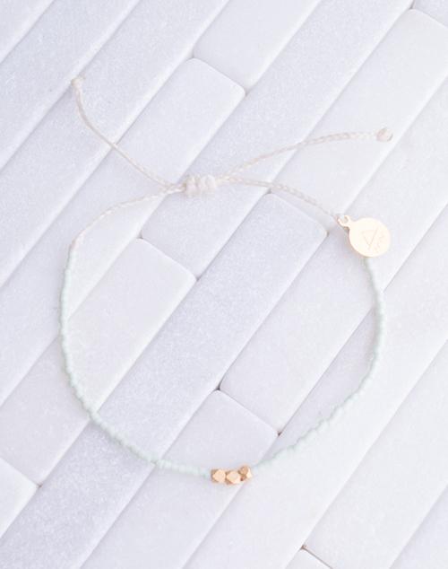 Mint & White Gold Bead Bracelet