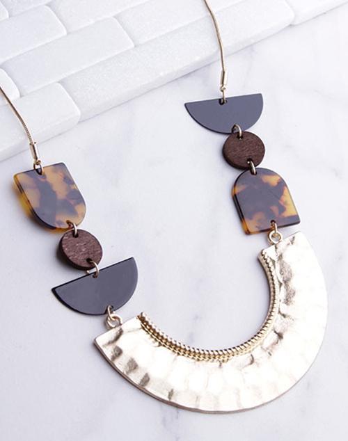 Long Hammered Metal U Tortoise Necklace