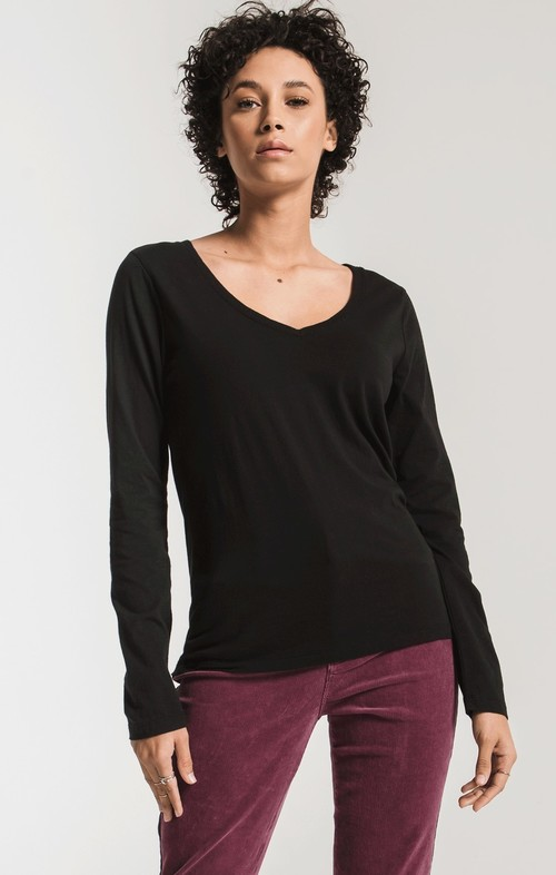 The Perfect Long Sleeve V-Neck Black