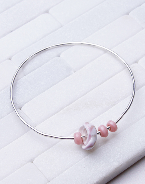 Three Pink Bangle - Sterling Silver