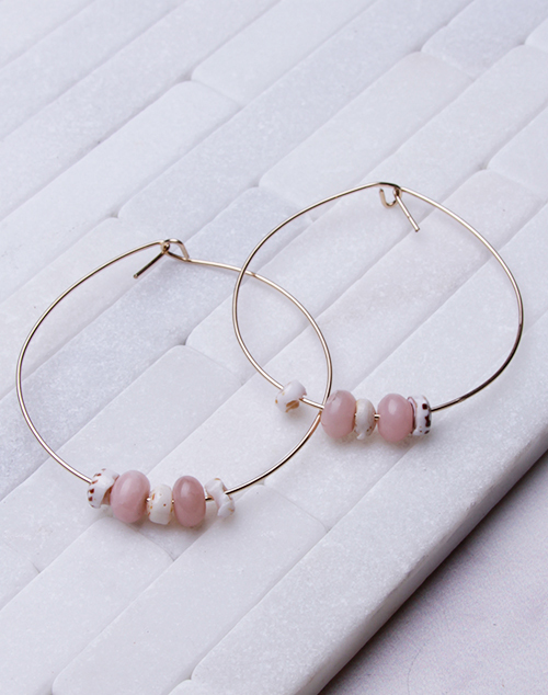 Pink Opal + Puka Hoops - 14K Filled