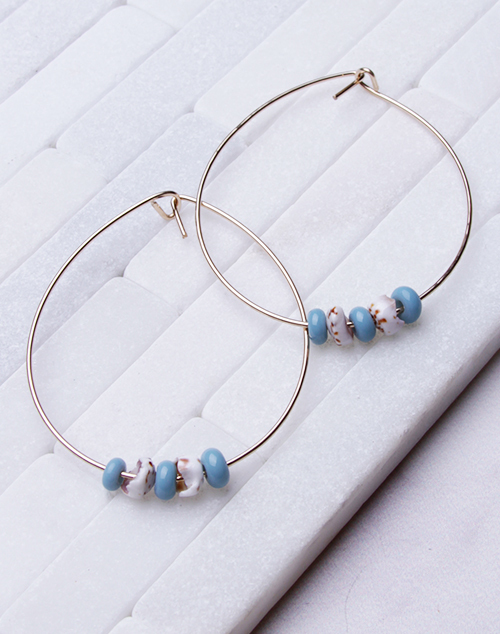 Sea Blue Glass Bead + Puka Hoops - 14K Filled
