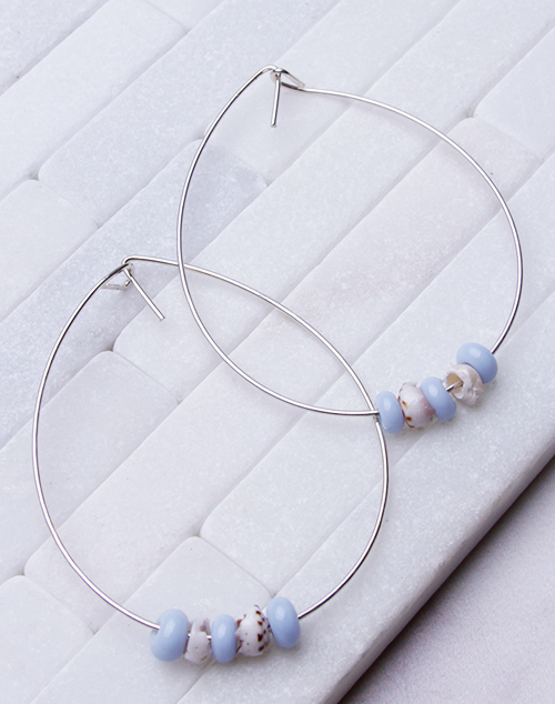 Sky Blue Glass Bead + Puka Hoops - Sterling Silver